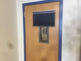 office door with window. Last Week I Had Blinds Installed On The Window Of My Office Door. Reason: In Case A Shooter. Idea Is That By Pulling Down Shooter Door With